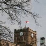 St George's Flag on Hexham Abbey