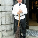 Porter with broom