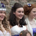 Wellow Maypole retiring queen (L) with queen elect (centre) 2012-5